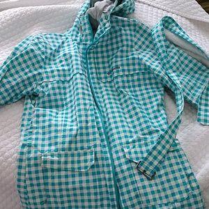 Columbia OmniShield sz L teal plaid raincoat